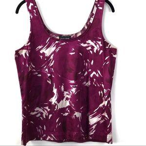 Theory Silk Blend Purple White Scoop Neck Tank SM